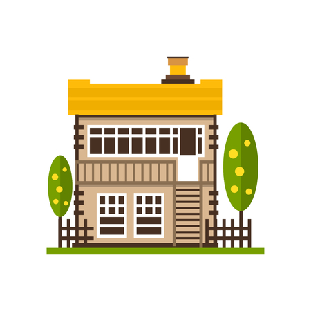 Rural house, farm building, countryside construction vector Illustrations on a white background Illustration