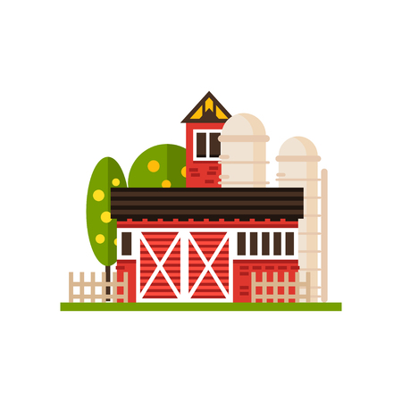 Traditional american red barn and silo, countryside construction vector Illustrations on a white background