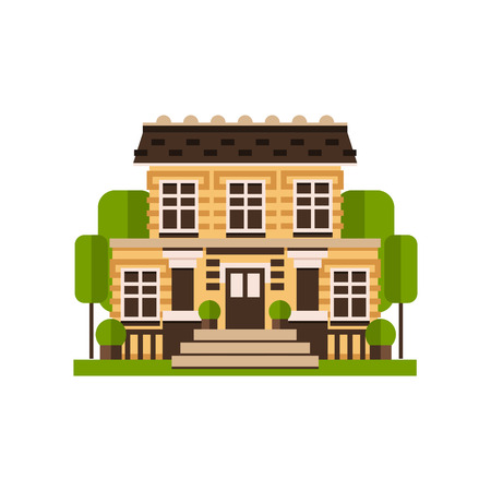 Village cottage, farm building, countryside construction vector Illustrations on a white background