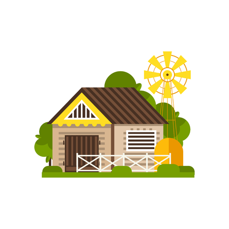 Barn and windmill, countryside construction vector Illustrations on a white background Ilustração