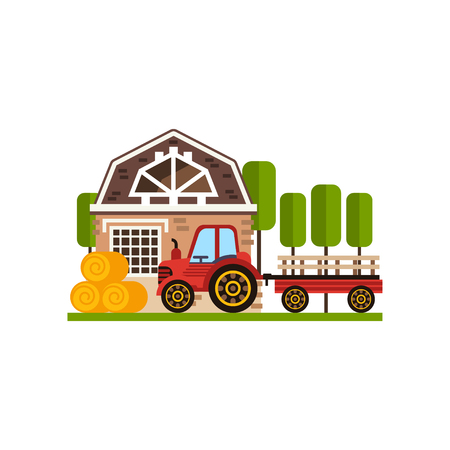 Rural cottage and tractor, farm building, countryside construction vector Illustrations on a white background