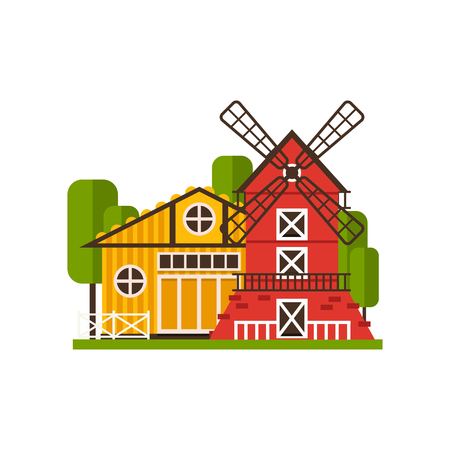 Traditional american barn and windmill, farm buildings, countryside construction vector Illustrations on a white background