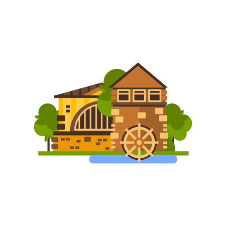 Farm building, water mill, countryside construction vector Illustrations isolated on a white background.