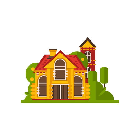 Rural cottage, countryside building vector Illustrations isolated on a white background. Illustration