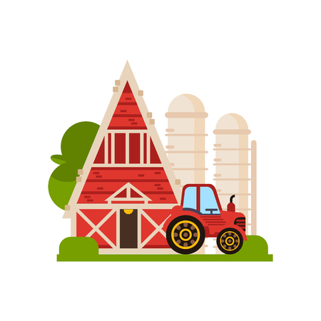 Traditional red barn, silo and tractor, farm buildings, countryside construction vector Illustrations isolated on a white background.