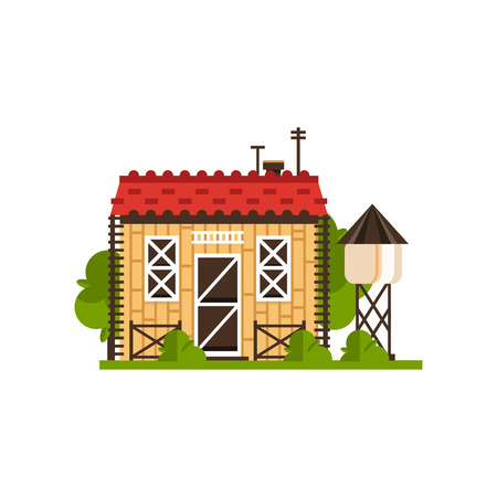 Rural cottage and water tower, countryside construction vector Illustrations isolated on a white background.