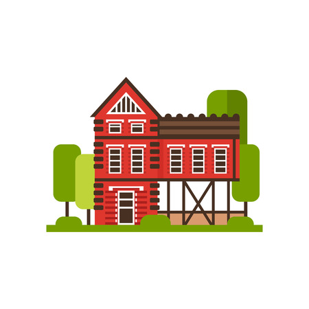 Traditional red rural house, countryside building vector Illustrations isolated on a white background. Illustration