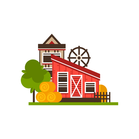 Traditional farm buildings, countryside construction vector Illustrations on a white background 向量圖像