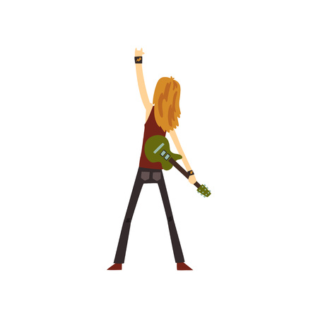 Rocker with long hair standing with green electric guitar and showing rock sign, back view. Musician on stage. Cartoon man character in pants and shirt. Colorful flat vector design isolated on white. Stock Illustratie