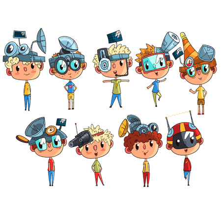 Cute scientist children working on physics science experiment set, funny boy in fantastic headdress with antennas vector Illustrations isolated on a white background.