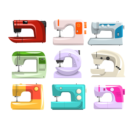 Sewing machine set, modern machine in different colors vector Illustrations isolated on a white background.