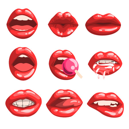 Red glossy lips set, girls mouth with red lipstick makeup expressing different emotions vector Illustrations isolated on a white background.