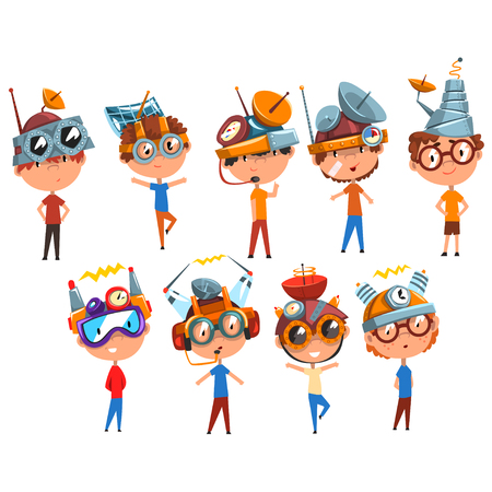 Scientist children working on physics science experiment set, boy in fantastic headdress with antennas vector Illustrations isolated on a white background.