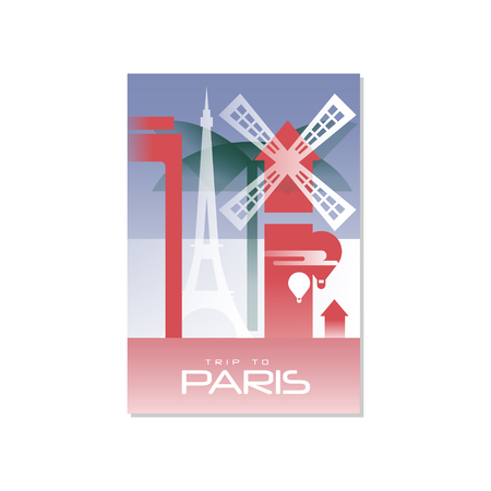 Trip to Paris, travel poster template, touristic greeting card, vector Illustration for magazine, presentation, banner, book cover, flyer