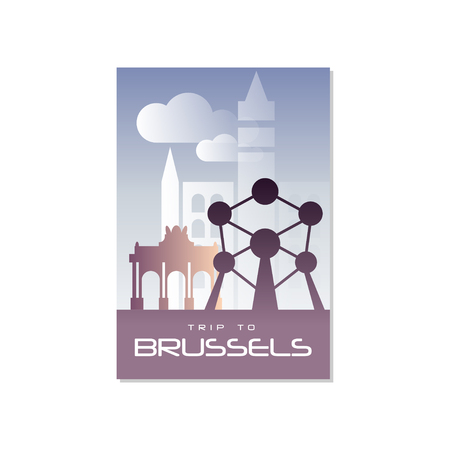 Trip to Brussels, travel poster template, touristic greeting card, vector Illustration for magazine, presentation, banner, book cover, flyer