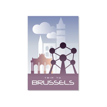 Reis naar Brussel, reizen poster sjabloon, toeristische wenskaart, vector illustratie voor tijdschrift, presentatie, banner, boekomslag, flyer