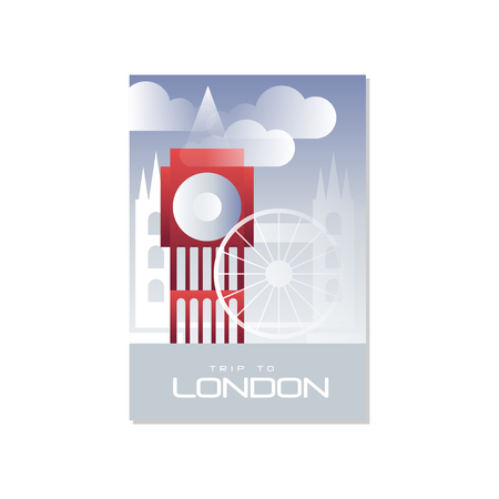 Trip to London, travel poster template, touristic greeting card, vector Illustration for magazine, presentation, banner, book cover, flyer