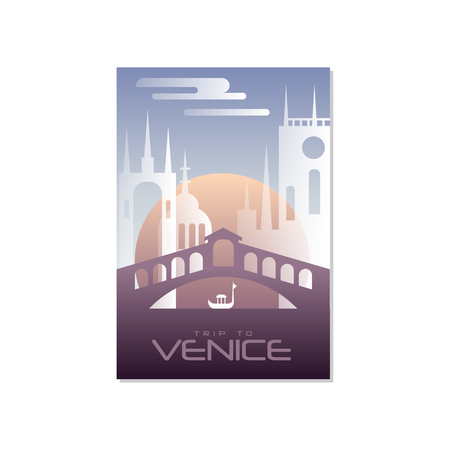 Trip to Venice, travel poster template, touristic greeting card, vector Illustration for magazine, presentation, banner, book cover, flyer