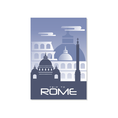 Trip to Rome, travel poster template, touristic greeting card, vector Illustration for magazine, presentation, banner, book cover, flyer Archivio Fotografico - 96993693