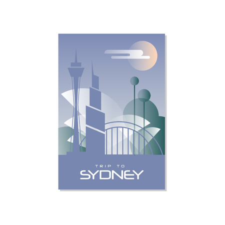 Trip to Sydney, travel poster template, touristic greeting card, vector Illustration for magazine, presentation, banner, book cover, flyer
