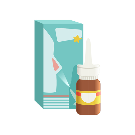 Brown glass medical nasal antiseptic spray bottle with box, pharmaceutical medicament vector Illustration on a white background Imagens - 96996163
