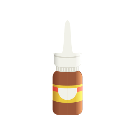 Brown glass medical nasal antiseptic spray bottle, pharmaceutical medicament vector Illustration on a white background