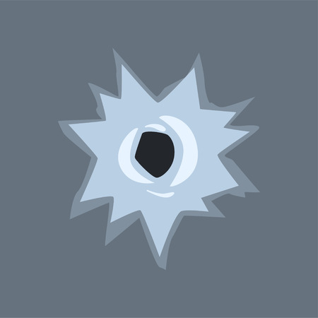 Bullet hole in glass vector illustration on gray background