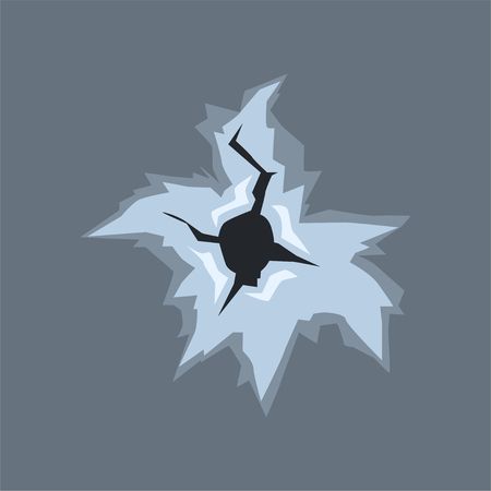 Bullet hole with cracks and scratches, bullet mark on glass vector illustration on gray background