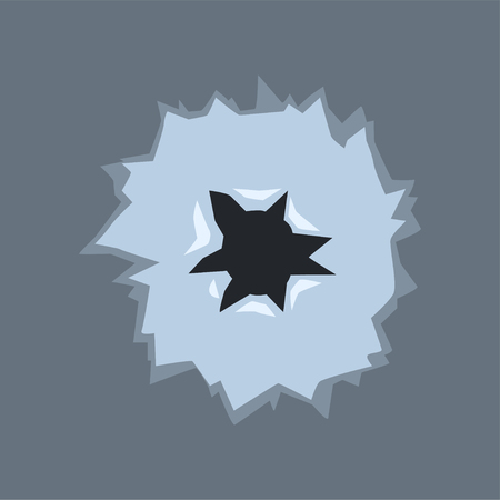Bullet hole with cracks, bullet mark on glass vector illustration on gray background Иллюстрация