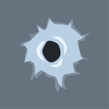 Bullet hole in glass, mark with with cracks and scratches vector illustration on gray background