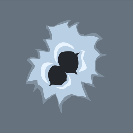 Bullet holes with cracks and scratches vector illustration on gray background