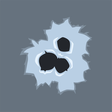 Bullet holes with cracks, bullet marks on glass vector illustration on gray background