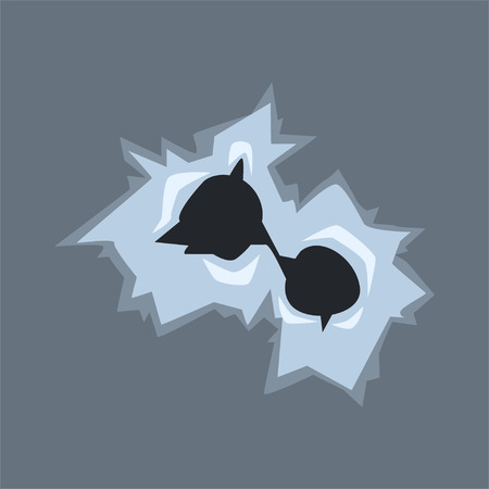 Bullet holes in glass with cracks and scratches vector illustration on gray background