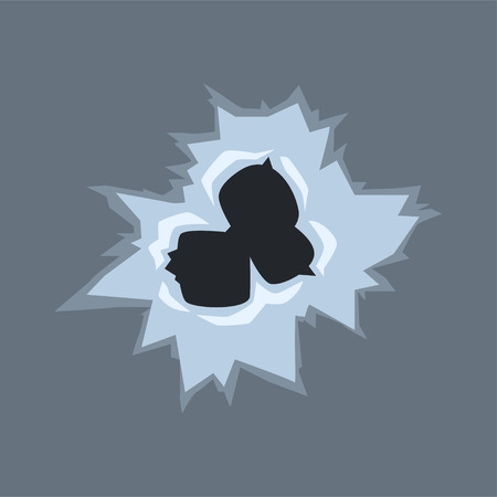Bullet holes on glass vector illustration on gray background Иллюстрация