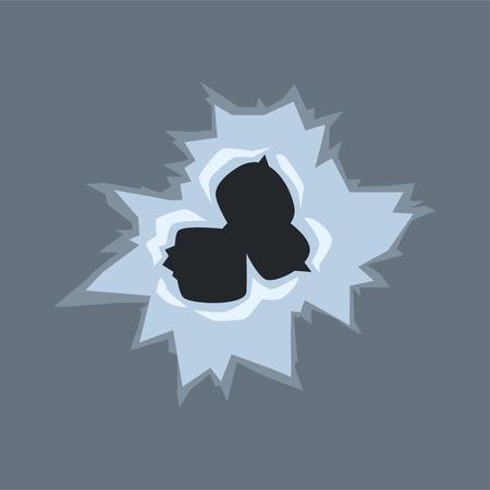 Bullet holes on glass vector illustration on gray background Illustration