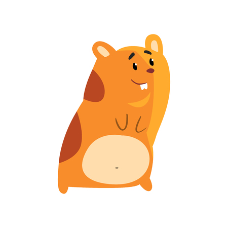 Cute smiling cartoon hamster character, funny brown rodent animal pet vector Illustration on a white background  イラスト・ベクター素材