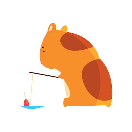 Cute cartoon hamster character fishing, funny brown rodent animal pet vector Illustration on a white background