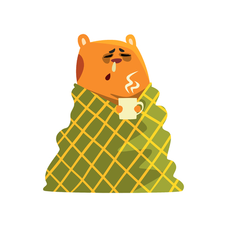 Sick cartoon hamster character with flu wrapped in a blanket holding a cup, funny brown rodent animal pet Ilustração