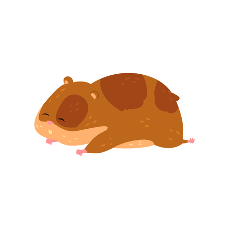 Cute cartoon hamster character sleeping, funny brown rodent animal pet Vettoriali