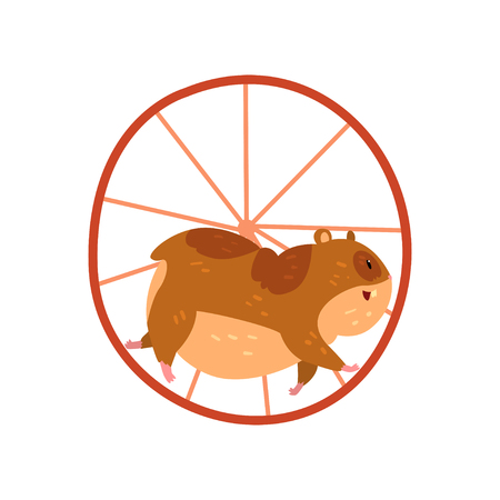 Cute cartoon hamster character running in wheel, funny brown rodent animal pet Illustration