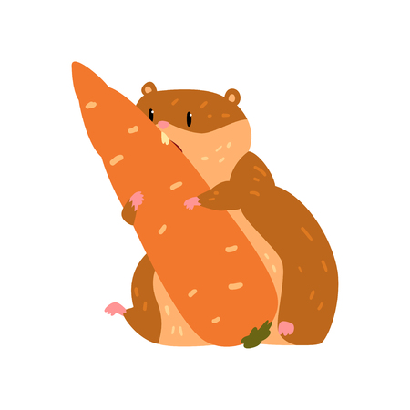 Cute cartoon hamster character eating carrot, funny brown rodent animal pet