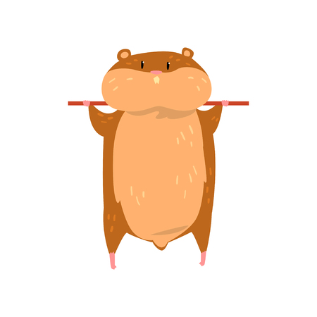 Cute cartoon hamster character hanging on a stick, funny brown rodent animal pet vector Illustration on a white background
