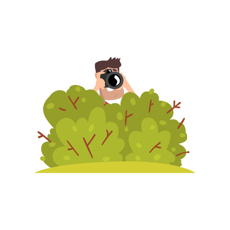 Professional male photographer paparazzi with camera sitting in ambush and making sensational shot vector Illustration on a white background 스톡 콘텐츠 - 97305990