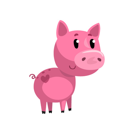 Pink funny cartoon baby piglet, cute little piggy character vector Illustration on a white background