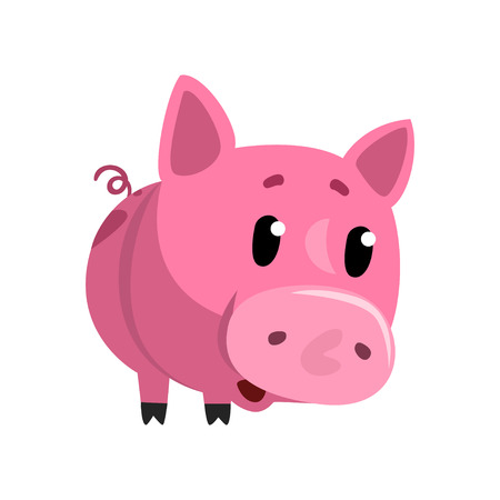 Sad pink cartoon baby piglet, cute funny little piggy character vector Illustration on a white background Ilustração