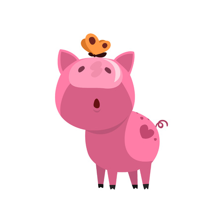 Pink funny curious pig with a butterfly on its nose, cute little piggy character vector Illustration on a white background