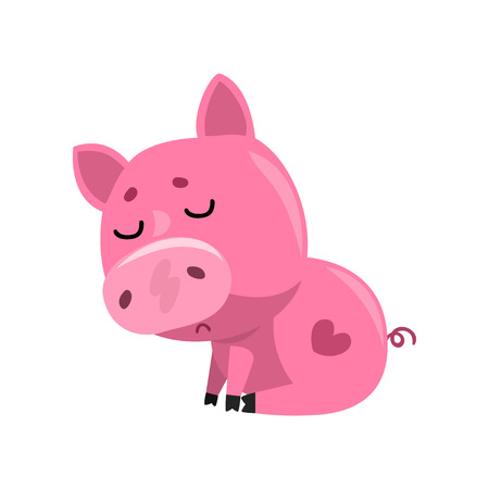 Sad pink cartoon baby piglet sitting, cute little piggy character vector Illustration on a white background