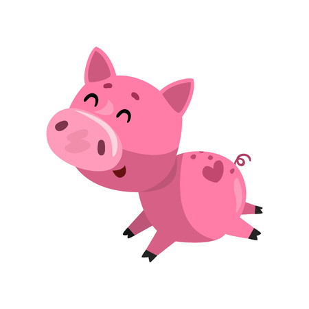 Pink funny smiling cartoon pig running, cute little piggy character vector Illustration on a white background Иллюстрация