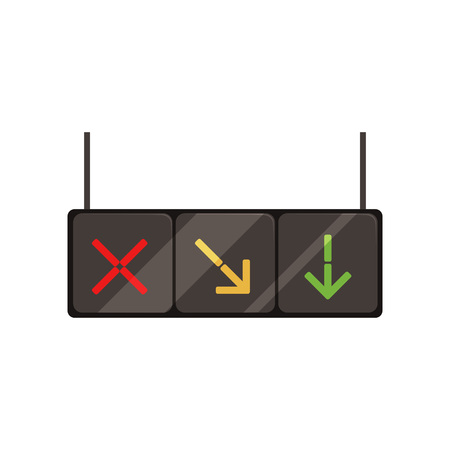 Hanging lane-control lights with red cross, yellow and green arrows. Signals controlling direction of motion. Illustration