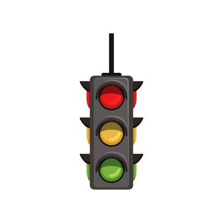 Semaphore with vertical arrangement of signals. Flat vector traffic light with red, yellow and green lamps. Signaling device positioned at road intersections Illustration